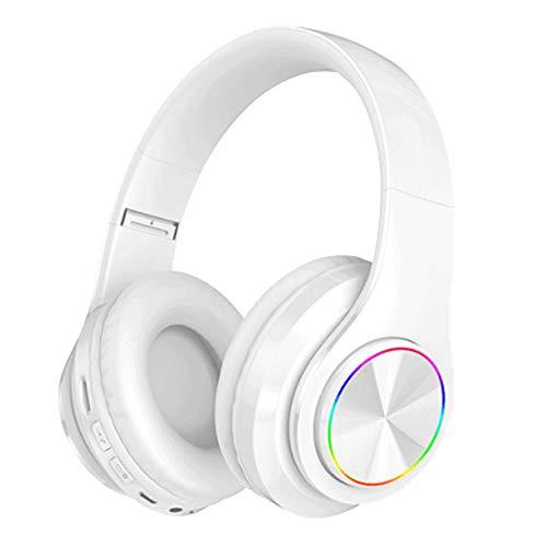 Bluetooth over-ear koptelefoon Opvouwbare headset Bluetooth-koptelefoon met LED-verlichting, opvouwbare mobiele telefoons, draadloze sport, universele kaart voor school/pc/mobiel -,White