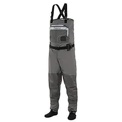 Piscifun Breathable Chest Waders - Stockingfoot Waders for Men and Women, Lightweight Fly Fishing Waders, 3-Layer Polyester Waterproof Stocking Foot Waders S M L XL XXL