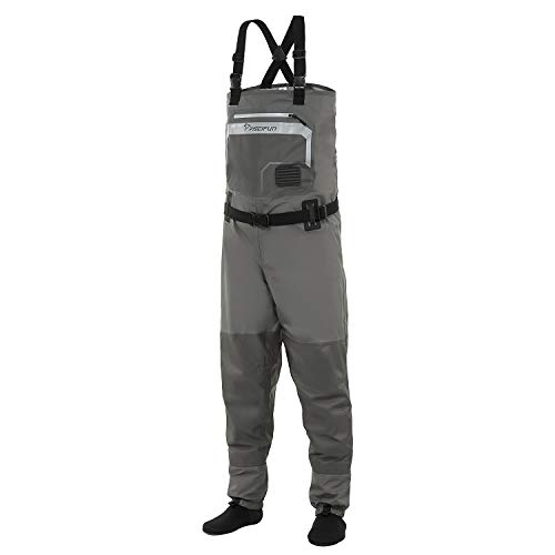 Piscifun Breathable Chest Waders - Stockingfoot Waders for Men and Women, Lightweight Fly Fishing Waders, 3-Layer Polyester Waterproof Stocking Foot Waders M