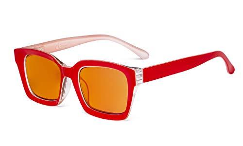 Eyekepper Señoras Gafas de lectura de bloqueo de luz azul con lente teñida de naranja para domir - Lectores de ordenador de diseño cuadrado de gran tamaño para Mujeres - Rojo +3.00