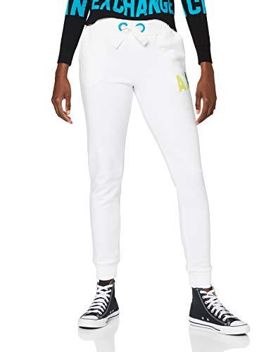 Armani Exchange Womens Interlock Jumpsuit Trouser Sweatpants, Off White, L