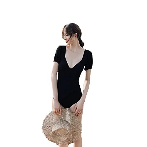 BeingHD Traje De Baño Mujer V Cuello Cubrir Vientre Mostrar Delgada Falda Estilo Conservador Backless Mono L Negro