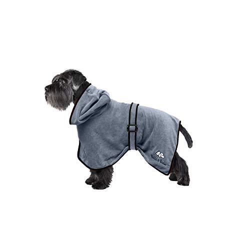 Bella & Balu Hundebademantel aus Mikrofaser + Pfotentuch – Saugfähiger Hunde Bademantel zum Trocknen nach dem Baden, Schwimmen oder Spaziergang im Regen (S | Grau)