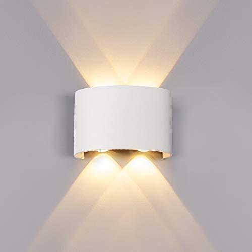 ERWEY Wandleuchte Innen LED Modern Wandlampe Aluminium Up Down Spotlicht Warmweiß Wandlicht für Schlafzimmer, Wohnzimmer, Bad, Flur, Treppe (Weiß, Klein 12W)