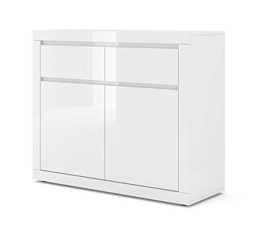 BIM Furniture Kommode Bello Bianco I 105 cm Sideboard Highboard Schrank Weiss mat/Weiss Hochglanz Zwei Regal, Zwei Schubladen Italienische