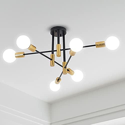 ANDAST Lampade da Soffitto Sputnik, Plafoniere 6 Bracci Diametro 60cm, Lampadari Soffitto Regolabile di 180° per Soggiorno da Pranzo Loft, E27 Lampadina non Inclusa (6 luce)