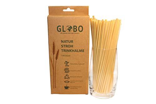 Globo | Strohhalme aus Stroh | Umweltfreundlich | Ökologisch Abbaubar | Kompostierbar | Geschmacksneutral | Heiß- und Kaltgetränke | Nachhaltig | 100 Stück ca. 20 cm lang