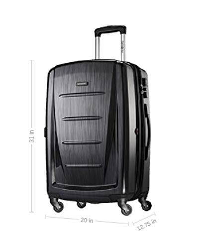 Samsonite Winfield 2 Hardside Expandable Luggage with Spinner Wheels, Charcoal, Checked-Large 28-Inch