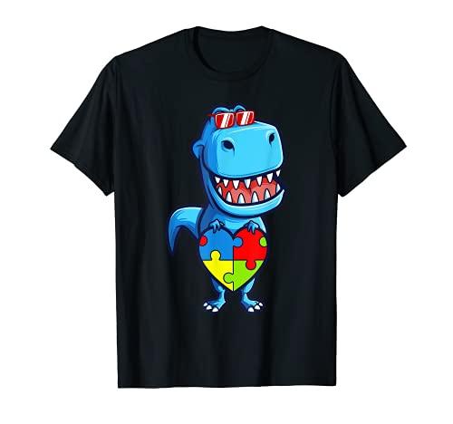 Juego de puzles de corazón T-Rex con diseño de dinosaurio de Mes de conciencia de Camiseta