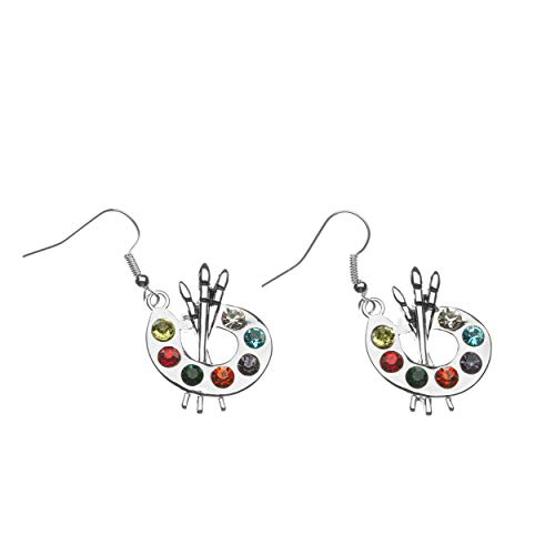 Sportybella Paint Brush and Colorful Paint Palette Dangle Charm Earrings, Artist Painter Jewelry, Gift for Women, Teens and Girls