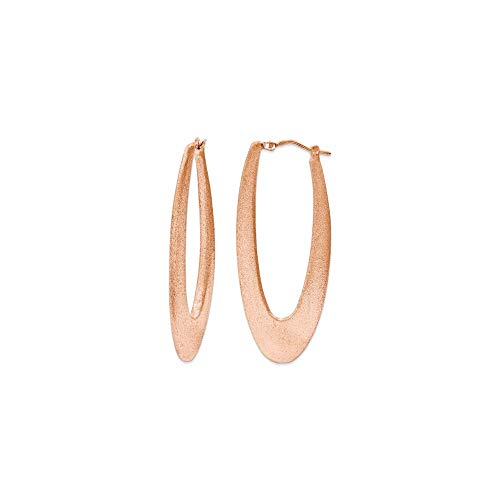925 Sterling Silver 2 Inch Elongated Hoops Rose Gold Plating Hoop Oval Fine Jewellery For Women Gifts For Her