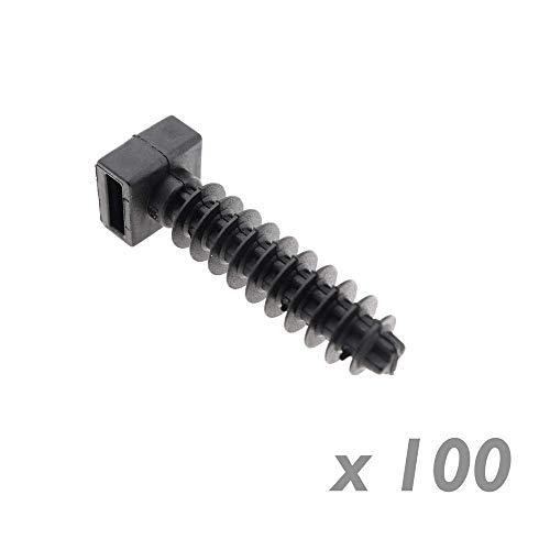 BeMatik - Taco a presión Negro 8mm para Bridas 100 Unidades