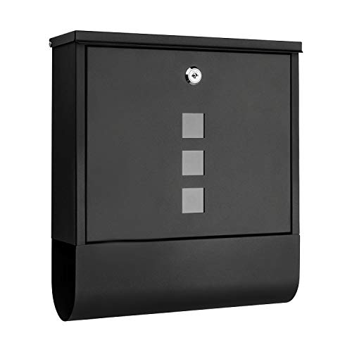 1PLUS Briefkasten Postkasten Wandbriefkasten mit Zeitungsrolle/Zeitungsfach mit schützender Beschichtung (ohne Namensschild, schwarz)