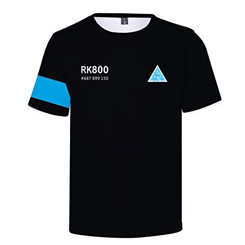 Haililais Detroit Become Human T-Shirts T-Shirt à Manches Courtes de Couleur Unie de Style Rue (Color : A02, Size : XXL)
