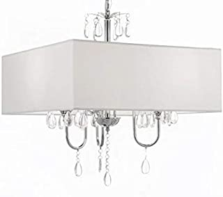Crystal Chandelier with Large White Shade W 19.5 H 21.5