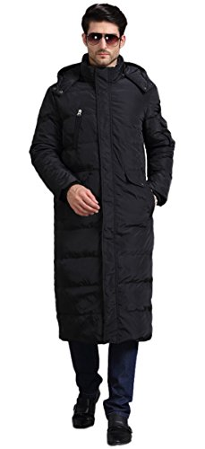 Chartou Men's Fashion Thickened Oversized Windproof Long Hooded Down Coat Jacket (XX-Large, Black 1)