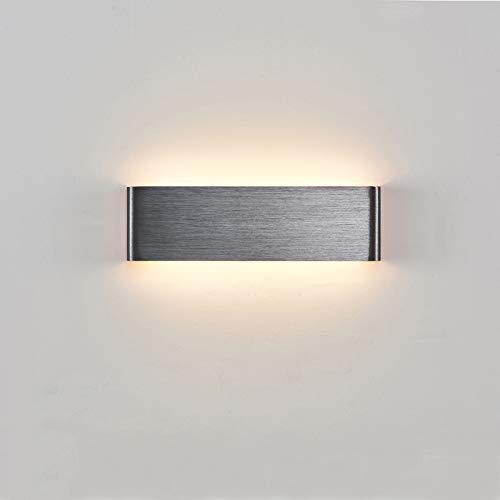 Phube Lámpara de Pared LED Apliques de Pared Moderna Arriba Abajo Espejo Lámpara Frontal Luz de Pared Dibujo de Alambre Aplique de pared Aluminio Accesorio de Iluminación Interior(Plata+31cm)