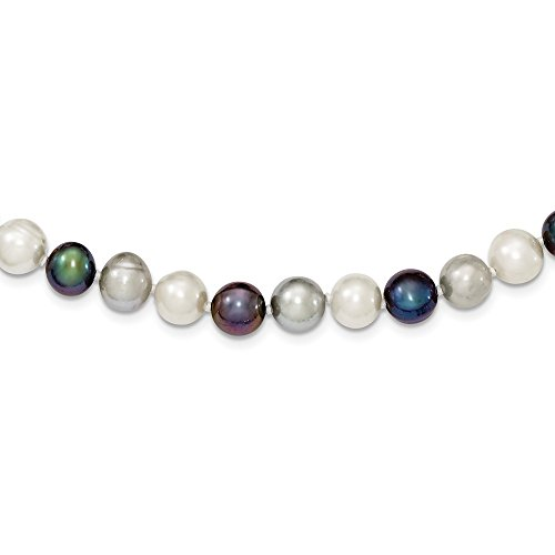 Hermosa plata de ley 8-9mm FW cultivado blanco/platino/negro perla cuello
