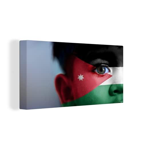 Leinwandbild - Flagge von Jordanien - 80x40 cm
