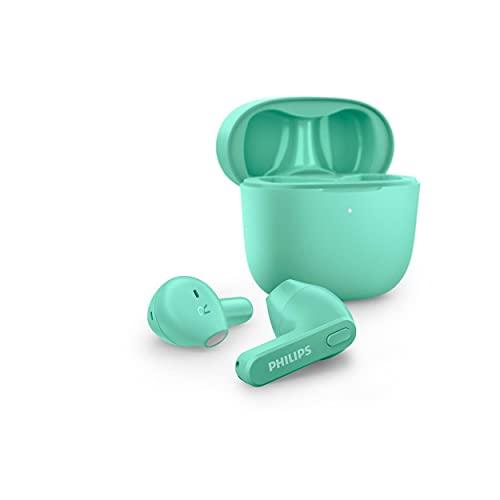 Philips TAT2236GR/00 Auriculares inalámbricos, Auriculares intrauditivos, Estuche de Carga, Resistente a Salpicaduras y Sudor, Bluetooth, 18 Horas de reproducción, micrófono Integrado, Verde