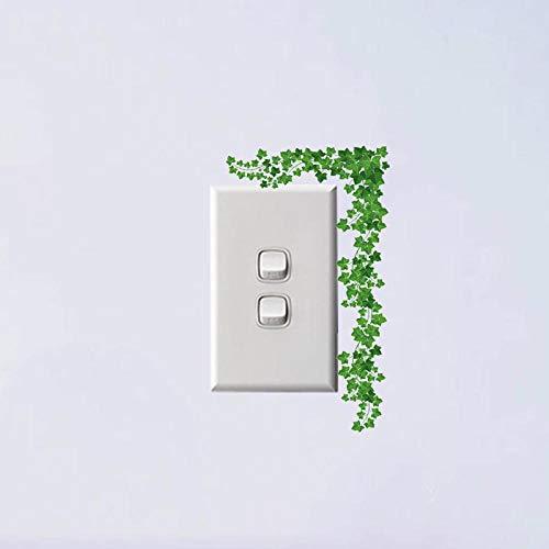 whmyz Hojas Frescas Verdes Flores Diseño de Estilo clásico Habitación de PVC Etiqueta de Interruptor Interesante Decorativa