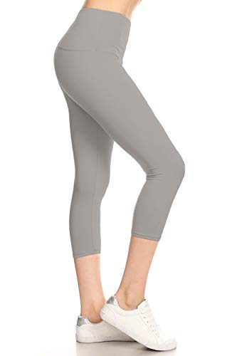 Leggings Depot High Waist 5″ Waistband Solid Yoga Capri Leggings