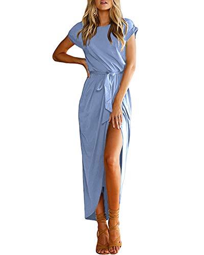 YOINS Sommerkleid Damen Lang Maxikleider für Damen Strandkleid Sexy Kleid Kurzarm Jerseykleider Strickkleider Rundhals mit Gürtel Langarm,EU36-38/S,Hellblau