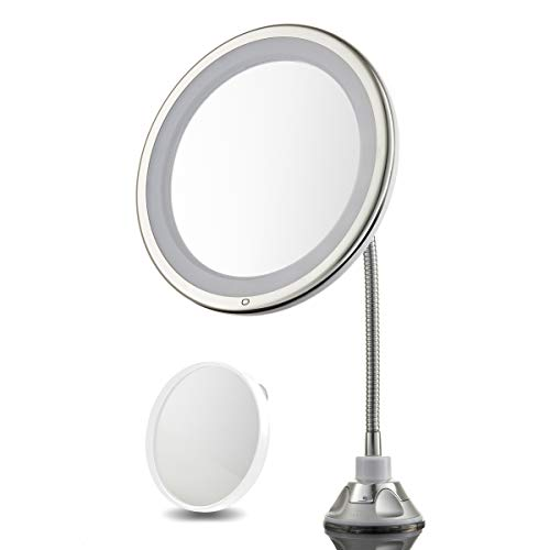 "3X Magnifying Lighted Makeup Mirror - 10"" Long Gooseneck Mirror with Warm LED Light- Best Wireless, Battery Operated, Adjustable, Bathroom Vanity Dresser Mirror - Free 10X Magnifying Spot Mirror"