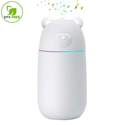 NUONA Humidificador Ambiental Mini 300Ml Ambientador Vaporizador Ultrasónico humidificadores Aromaterapia con un USB Ventilador y Lámparas LED para Bebes,Coches,Despacho,Dormitorio,SPA,Yoga - Blanco
