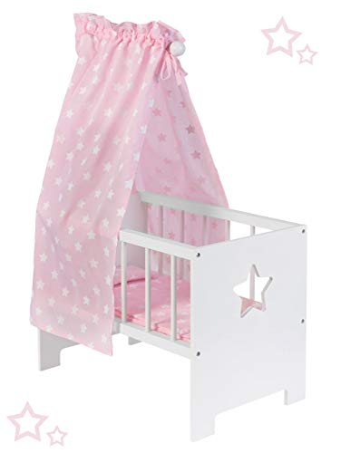 Puppenbett mit Himmel Sternchen aus Holz Holzbett Stern Bett Himmelbett (Weiß-Rosa)