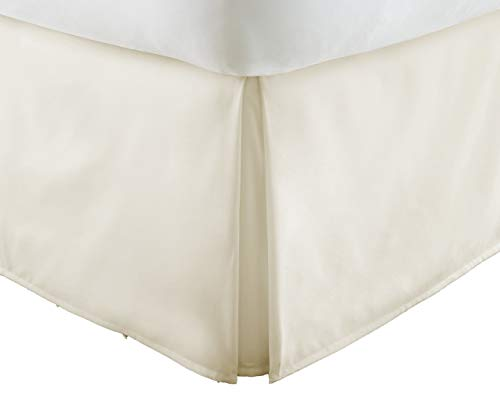 """Luxury 550-TC Egyptian Cotton (1-Piece) Bed Skirt with 16"""" inch Drop Length (Ivory Color) Solid Pattern Tailored Bed Skirt Queen Size"""