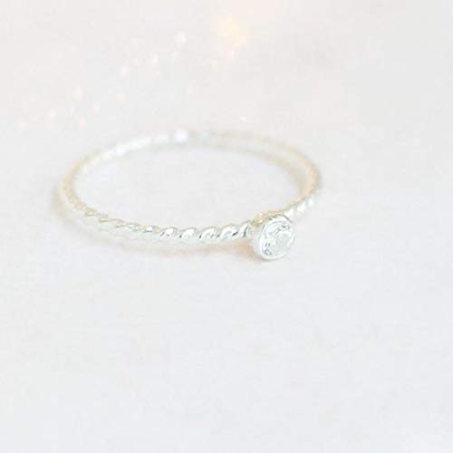 stacking ring. ONE sterling silver stackable gemstone ring. TWIST band stack ring. mothers ring. birthstone ring. minimalist cz diamond ring