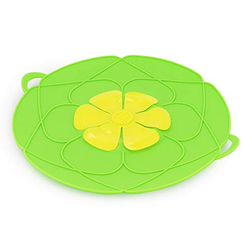 MoYouno Spill Stopper Lid Cover,Kitchen Pan Lid Silicone Anti Spill Lid, Multi-Function Cover Pot Boil Over Safeguard for Cooking (Green)
