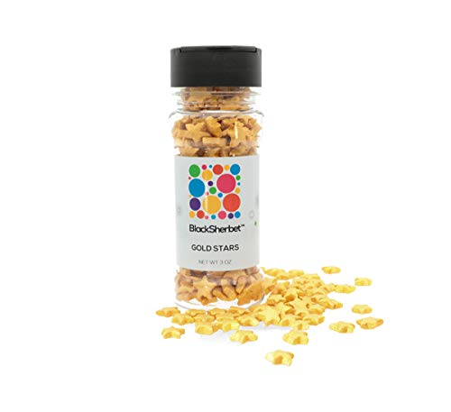 Edible Gold Star Shaped Sprinkles 3 ounce for Gourmet Dessert, Cakes, Cupcakes, Waffles, Cookies and Decorating