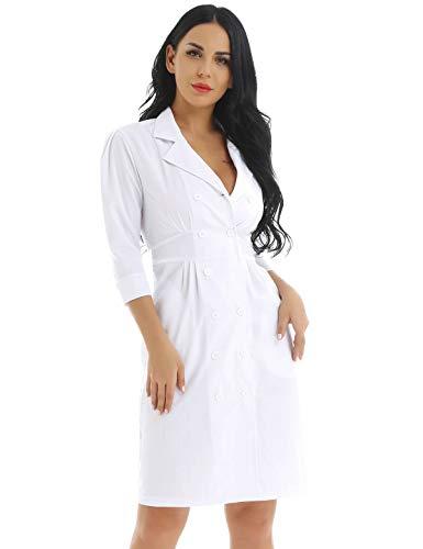 dPois Camice Bianco Donna Divisa Ospedaliera con Tasche Uniforme Sanitaria Medico Infermiera Nurse Camici da Lavoro Casacca da Laboratorio Farmacista Erboristeria Bianco L