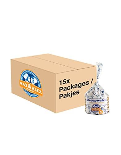 Max & Alex Stroopwafels 100% Boter Stroopwafels Verpakt in 8-pack Delfts Blauwe Trendy Verpakkingen – Set van 15 x 250…