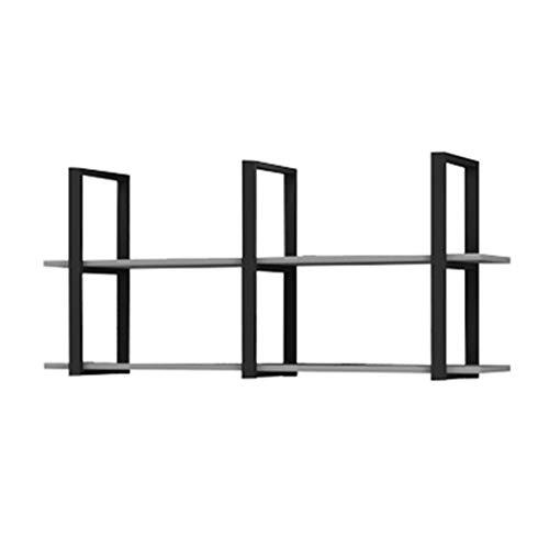 LM slanke minimalistische wandgemonteerde stalen houten rekken, smeedijzeren dubbeldekker wandgemonteerde raamvormige scheidingswanden, woonkamer slaapkamer studeerplank opbergrek Displaystandaard, zwart