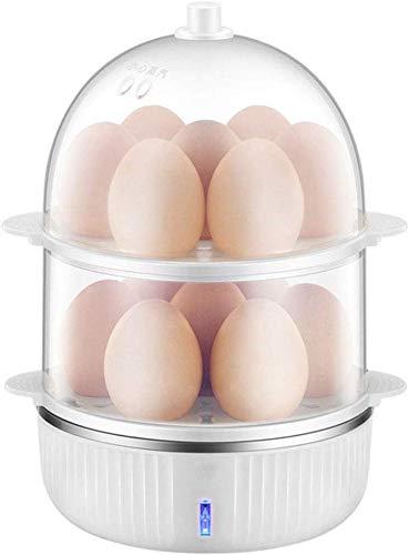 No Brandand multifunctionele elektrische eierkoker, dubbellaags, roestvrij staal, voor het koken van eieren met automatische sluitfunctie, voor maximaal 14 eieren, B
