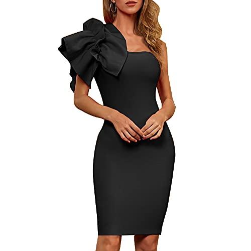 Damofy Vestido de Vendaje con Volantes de un Hombro Vestido de Fiesta de Negocios Ajustado Mini para Mujer para cóctel de Boda de Club