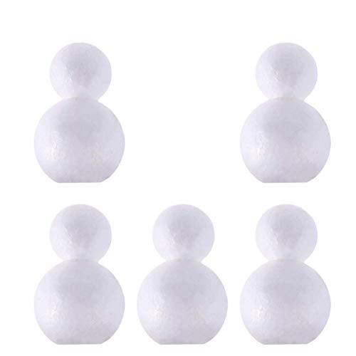 MxZas 5pcs di Natale Styrofoam Craft Bianca in Bianco Snowman Doll Polistirene Espanso Stampi Ornamento for Fai da Te progetti di Artigianato Home Office Decor 15 Centimetri Jzx-n