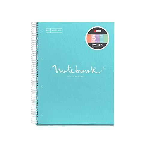 Miquelrius - Cuaderno Espiral Microperforado, Cubierta Cartón Extraduro, Tamaño A4 210 x 297 mm, 4 taladros, 120 Hojas de 90 g/m² y 5 Franjas de Color, Cuadrícula de 5 x 5 mm, Color Azul Cielo