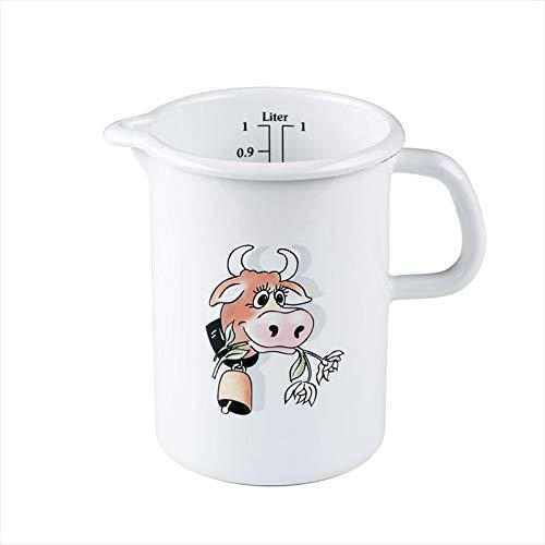 Riess, 0338-084, Küchenmaß 10 1,00 L, COUNTRY - ALMLIESEL, Durchmessser 10 cm, Höhe 14,8 cm, Inhalt 1,0 Liter, Emaille, weiß mit Kuh