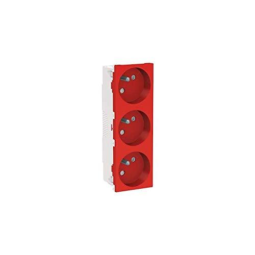 Unica - Enchufe triple 2P + T - FR - 45° - Rojo - Meca sola