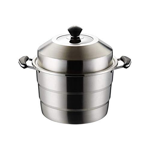SFLRW 3-tier 304 Rostfritt stål Steamer Pot, ångkokare, kompatibel med induktions kokkärl/gasugn, diskmaskin säker (Size : 45CM)