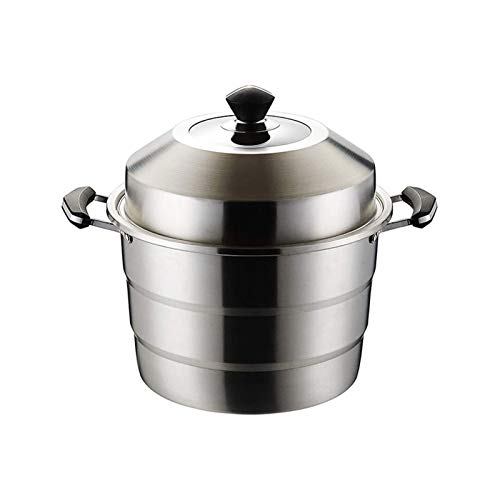 SFLRW 3-Tier 304 Stainless Steel Steamer Pot, Steamer Cookware, Compatible to Induction Cooktop/Gas Oven, Dishwasher Safe (Size : 35CM)