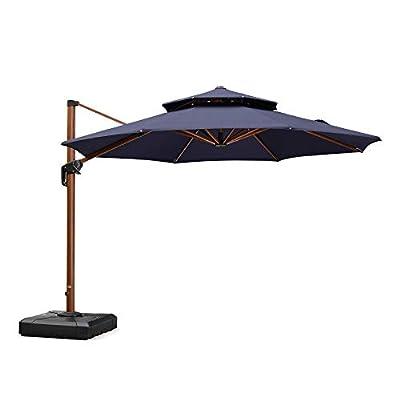 PURPLE LEAF 11ft Patio Umbrella Outdoor Round Umbrella Large Cantilever Umbrella Windproof Offset Umbrella Heavy Duty Sun Umbrella for Garden Deck Pool Patio, Navy Blue