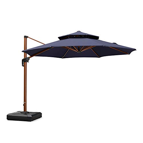 PURPLE LEAF 10 Feet Double Top Deluxe Sunbrella Wood Pattern Square Patio Umbrella Offset Hanging...