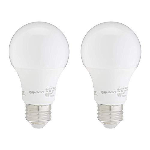 Amazon Basics 75W Equivalent, Daylight, Non-Dimmable, 10,000 Hour Lifetime, A19 LED Light Bulb   2-Pack