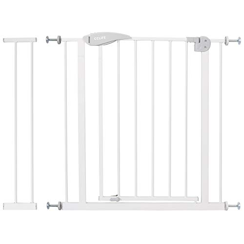 CCLIFE Treppenschutzgitter Türschutzgitter Absperrgitter Treppengitter Ohne Bohren Y-Spindel 14cm Verlängerung Gitter für Haustier Kindergitter