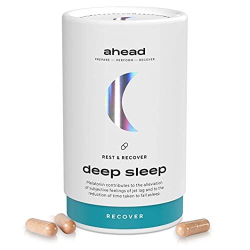 ahead DEEP SLEEP | Melatonin Kapseln mit pflanzlichen Wirkstoffen & Magnesium für die Nacht - 90 hochdosierte Tabletten als Monatsvorrat - Vegan - Natürliche Einschlafhilfe für Erwachsene